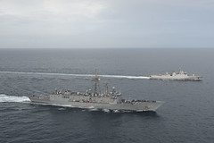 In this file photo, USS Rodney M. Davis (FFG 60) conducts a passing exercise with the Indonesian Navy corvette KRI Sultan Hasanuddin (366) in the Strait of Malacca in October. (U.S. Navy/MC3 Derek A. Harkins)