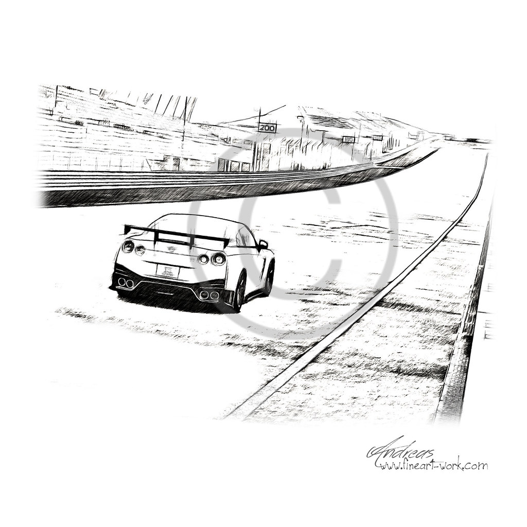 Nissan gt r nismo 2014 pencil drawing by www fineart work com