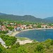 Greece, Macedonia, Olympiada, Chalkidiki, view to the village and bay