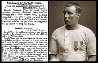 24th July 1883 - Captain Mathew Webb drowned in the Niagra Falls | by Bradford Timeline