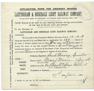 Lastingham and Rosedale Light Railway share allocation notice 1900 | by ian.dinmore