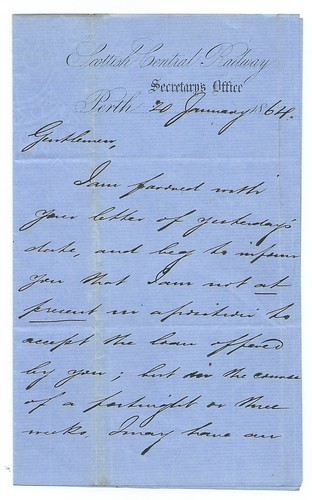 Scottish Central Railway letter 1864 | by ian.dinmore