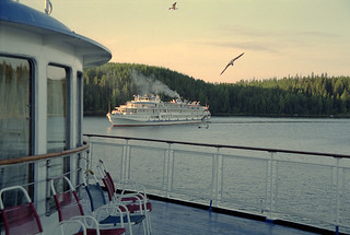 Water cruise ship, Valaam island, Russia, film scan