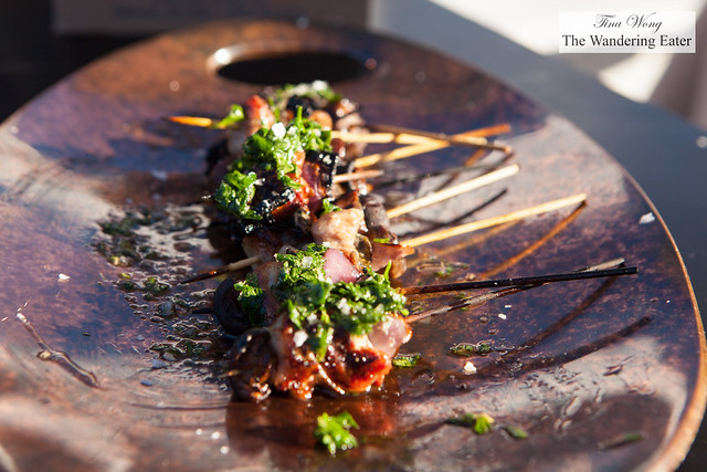 """Wood-grilled spitted quail """"spiedini"""" by Chef Michael White of the Altamarea Group"""