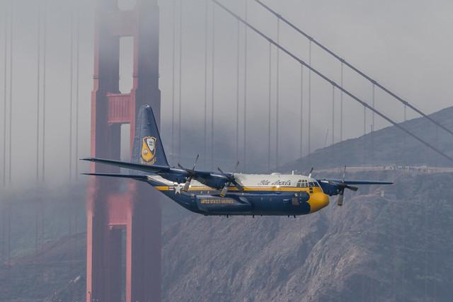 Fleet Week SF 2014: Fat Albert in front of the Golden Gate Bridge