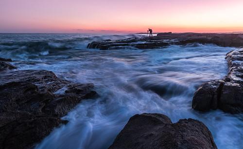 ocean york longexposure travel blue sunset usa seascape beach water horizontal landscape rocks unitedstates maine atlantic explore bluehour