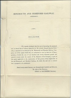 Monmouth and Hereford Railway Declaration of cost to build the railway 1846   by ian.dinmore