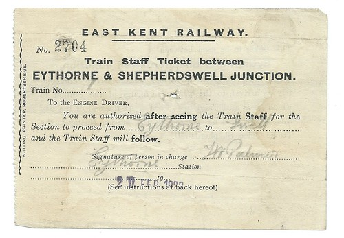 East Kent Railway Train Staff Ticket 1922   by ian.dinmore
