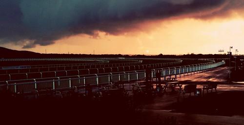 las sunset horse storm rain sport wales clouds track racing course racecourse trimsaran ffos camartenshire