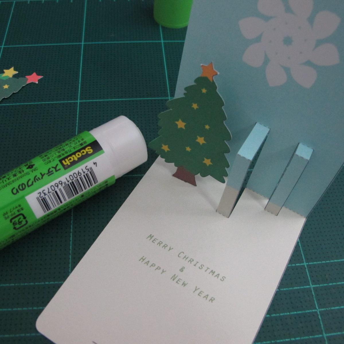 การทำการ์ดอวยพรลายต้นคริสต์มาสแบบป็อปอัป (Card Making Christmas Trees Pop-Up Card Template) 007