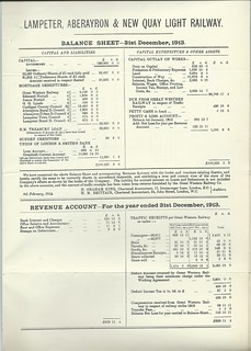 Lampeter, Aberayron & New Quay Light Railway balance sheet from Directors Report of 1913 | by ian.dinmore