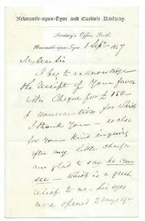 Newcastle-upon-Tyne and Carlisle Railway letterhead 1847 | by ian.dinmore