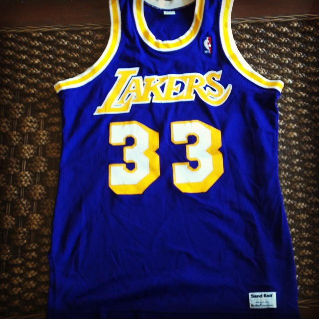 sports shoes 8de41 b3b8a 70s Kareem Abdul-Jabbar Lakers jersey by Sand Knit McGrego ...