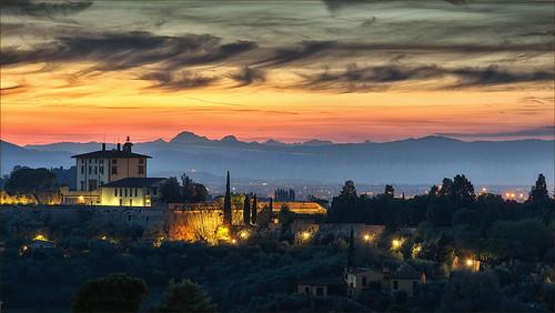 sunset florence twilight tramonto tuscany firenze toscana apuane fortebelvedere marcofrancini arunte
