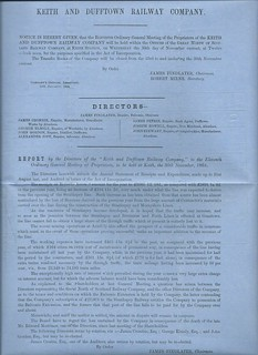 Keith and Dufftown Railway Directors Report 1865 | by ian.dinmore