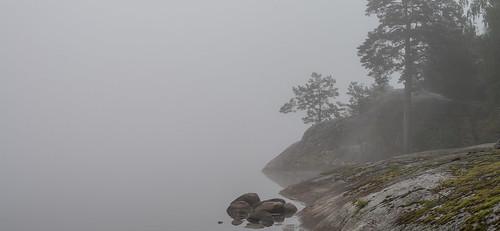 autumn trees lake reflection fall nature water rock fog landscape 50mm grey nikon europe sweden hill shoreline foggy scandinavia mystic 50mmf14 mälaren d610 mariefred södermanland