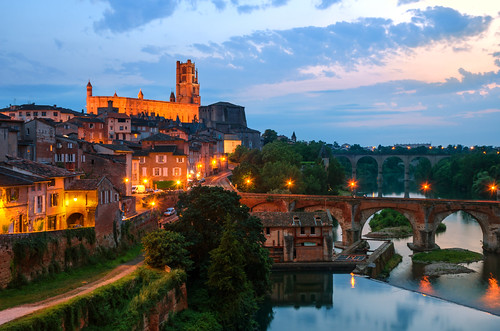 albi languedocroussillon occitanie france river bridge medieval cathedral history sunset travel tourism landscape landmark ngc