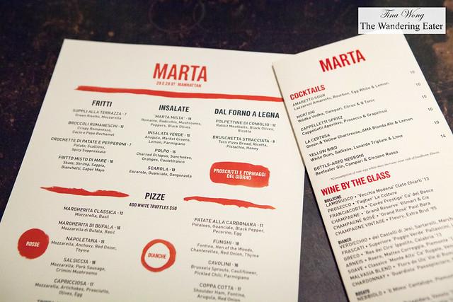 Dinner and drinks menu
