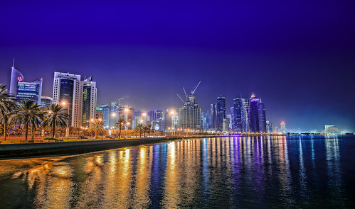building skyline night skyscraper gulf desert arabian doha qatar