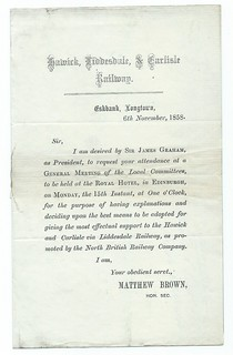 Hawick,Liddersdale, & Carlisle Railway letter regarding meeting of the local committees 1858 | by ian.dinmore