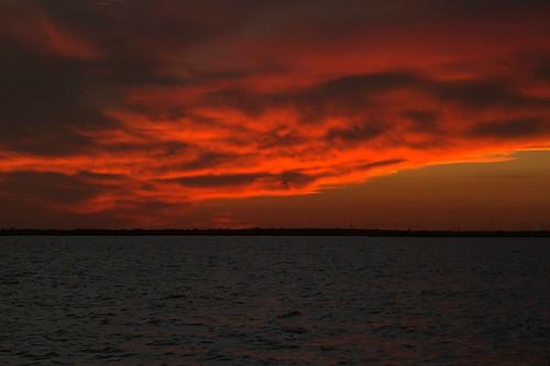 sunset sky orange evening bay texas cloudy peaceful sanleon dickinsonbay