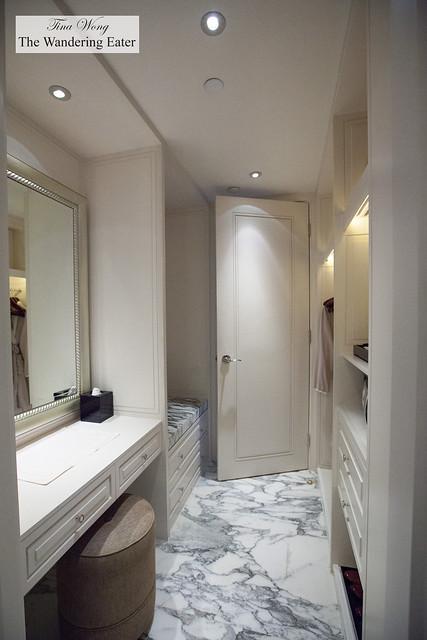 Walk in closet with vanity