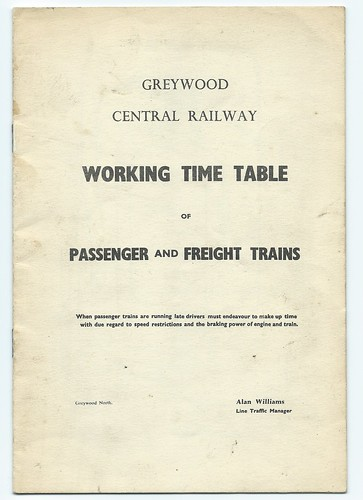 Greywood Central Railway working timetable undated | by ian.dinmore