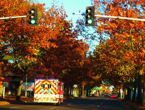 November Saturday Afternoon in My Town, Emergency Vehicle Headed Down Seventh into the Downtown Area of Eugene | by Mind on Fire Photography
