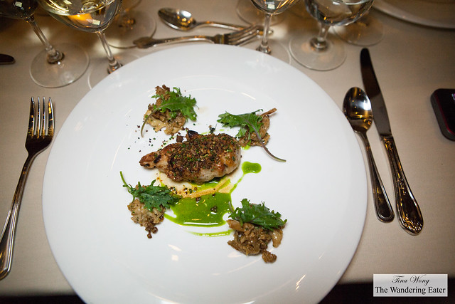 """Veal sweetbread roasted in butter from """"godart,"""" sprouted rye crumb, fermented and dehydrated celeriac and celeraic broth"""
