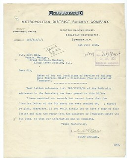 Metropolitan District Railway Letterhead 1920 | by ian.dinmore