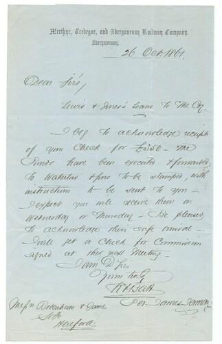 Merthyr, Tredegar and Abergavenny Railway letterhead 1861 | by ian.dinmore