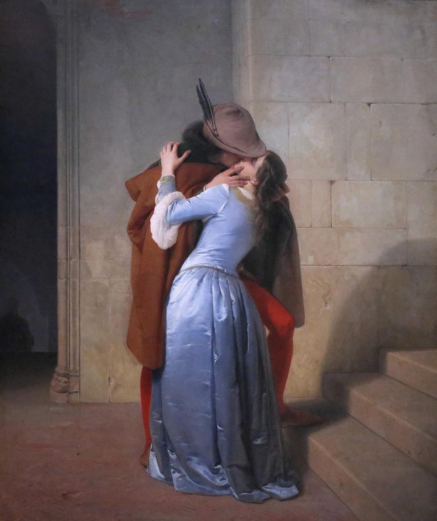IMG_8227A Francesco Hayez. 1791-1882. Il Bacio. The Kiss. 1859. Milan. Pinacoteca Brera. Pour comparaison du style académique et du style moderne.For comparison of academic style and modern style.