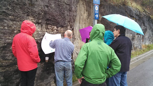 Looking at sedimentary layers at the Nanaimo ferry dock parking lot