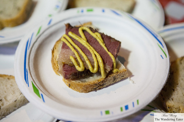 Mile End Deli - Smoked & cured brisket on rye bread with mustard