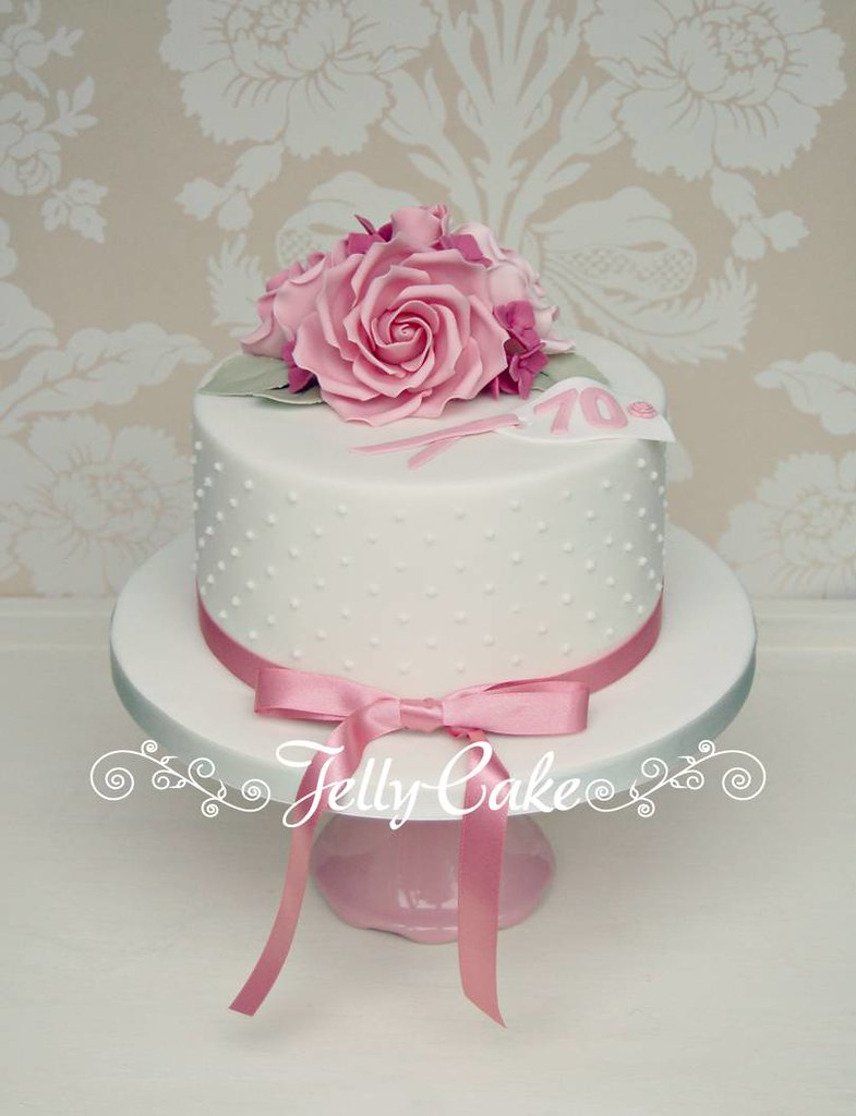 Brilliant Rose 70Th Birthday Cake A Pretty Pink Cake With Piped Pear Flickr Personalised Birthday Cards Veneteletsinfo