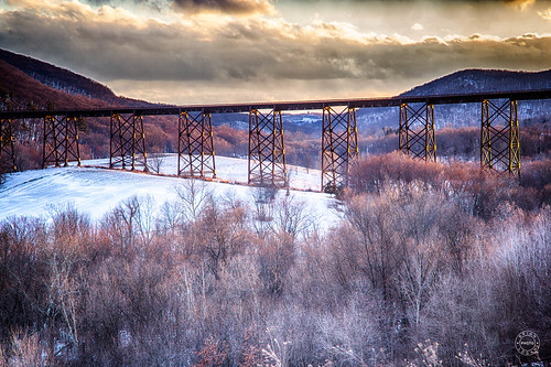 trees trestle iron mountian bridge orangecounty cloudy train landcape newyork field rural conditions salisburymills snow beaverdamlakesalisburymills unitedstates us
