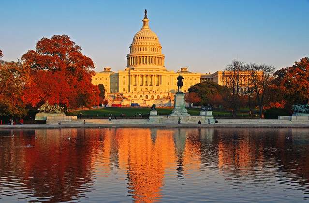 The US Capitol in the sunset light, Washington D.C.