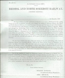Bristol and North Somerset Railway Notice to Treat 1865 | by ian.dinmore
