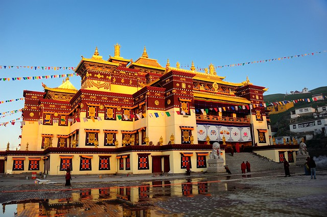 The Tsongkhapa Lhakhang of Sershul Monastery in sunrise, Tibet 2014