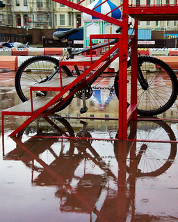 red steps and bike