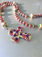 Polymer clay rosary.