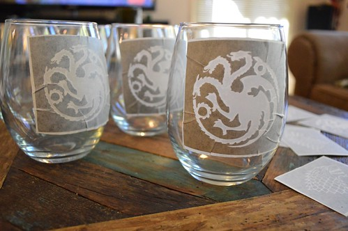 Homemade Game of Thrones House Sigil Pint & Wine Glasses | NobleHostess.com | by dana.nuber