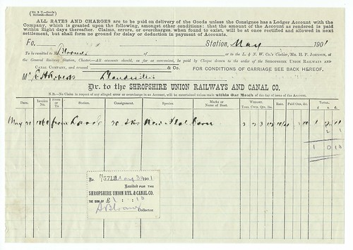 Shropshire Union Railways and Canal Goods Invoice 1901   by ian.dinmore