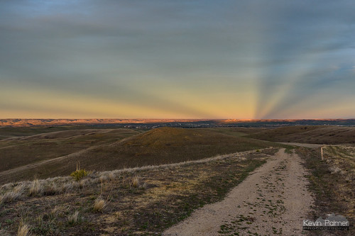 soldierridge sheridan wyoming april spring evening sunset color colorful clouds nikond750 orange gold golden yellow tamron2470mmf28 foothills hills path trail anticrepuscular rays sunlight