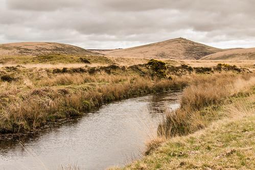 dartmoor landscape river taw steeperton tor moorland nationalpark devon england uk outdoor