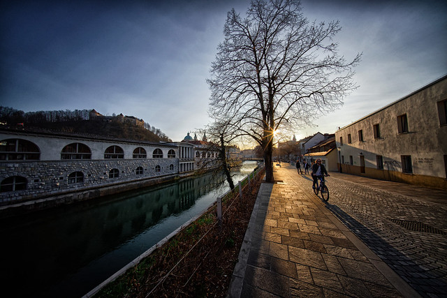 Walking alongside the Ljubljanica river