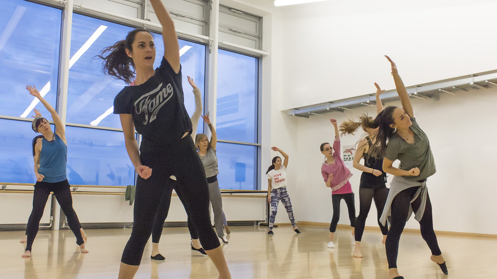Students dancing in a studio at The Edge