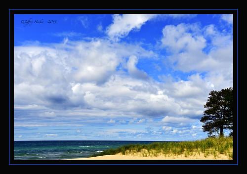 blue lake tree beach up clouds sand michigan north manistee onekama