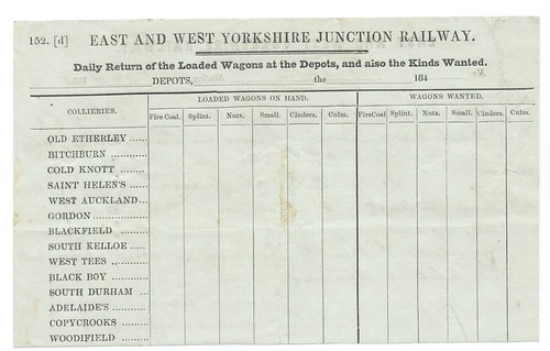 East and West Yorkshire Junction Railway Blank daily wagon return 1840's | by ian.dinmore