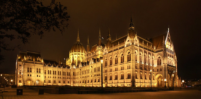 Budapest - hungarian Parliament night panorama 2